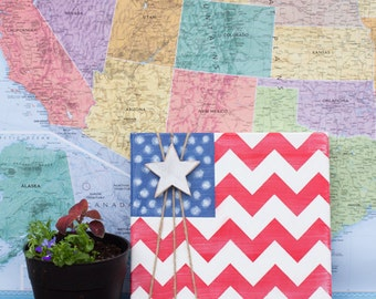 Chevron USA Flag Fourth of July Canvas Art