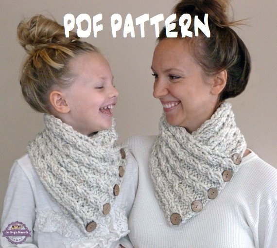 Knitted Cowl Pattern For Toddler : Knitting PATTERN Baby Cabled Button Neckwarmer Toddler