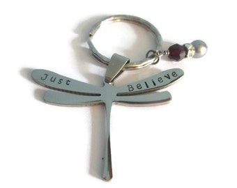 Just Believe - Diabetes Awareness - Stainless Steel Dragonfly Key Chain - Hand Stamped