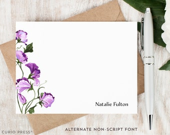 Personalized Note Card Set / Flat Personalized Stationery / Custom Stationary Set / Watercolor Painted Purple Flowers // SWEET PEA