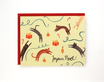 Jumping Cats Holiday Card - Joyeux Noel! - French Christmas Card - handpainted greeting card / HLY-CATS-FRENCH