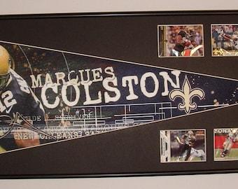 New Orleans Saints Drew Brees Pennant & Cards...Custom Framed!!!