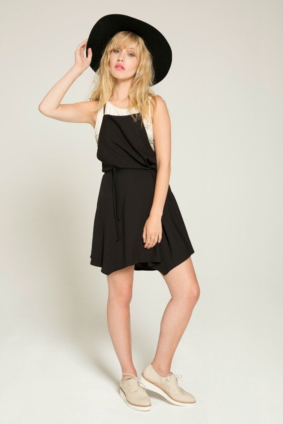 EMMÈNE-MOI - adjustable shoulder strap overall dress, skater dress, flared overall for women - black