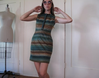 70's Forest Scale Dress w/ Buttons sz Sm