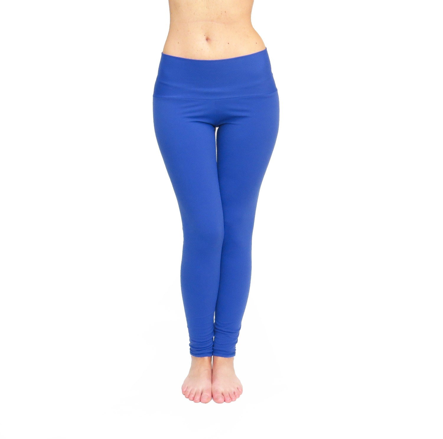 High Waist Leggings Blue Yoga Pants Activewear Gym Wear