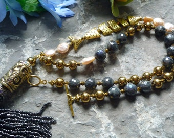 labradorite necklace,  gold hematite necklace, fish  necklace, gold fish, tribal pendant, pearl tassel pendant, freshwaterpearl necklace