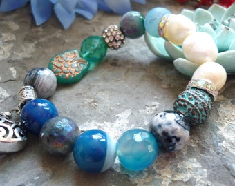blues agates bracelet, Freshwater pearl bracelet,heart  bracelet,, big freshwater  12 mm agate elastic bracelet,charm bracelet, owl bracelet