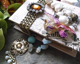 vintage repurposed  necklace, bird vintage necklace, amazonite necklace, bird antique necklace, repurposed necklace, bracelet necklace,