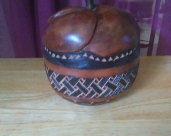 Pair of Hand Carved wood decorative apple coin boxes from Congo, drc