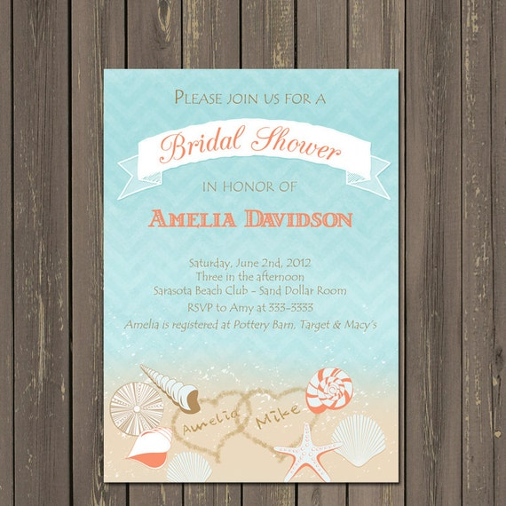 Beach Bridal Shower Invitation Seashell Bridal Shower Invite Shell