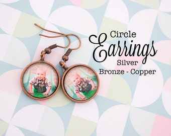 Custom Photo Earrings Circle 16 mm Earrings Personalized Gift, Silver, Antique Bronze, Antique Copper
