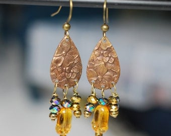 Teardrop, Brass, Vintaj, beaded earrings