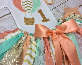 Hot Air Balloon + Age 3 Piece Coral, Peach, Mint, and Gold Glitter Birthday Outfit Including Onesie/Shirt, Fabric Tutu, & Headband or Clip