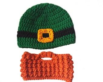 Baby Beard Hat, Leprechaun Beard, St Patricks Day Belt Buckle Beanie, Orange Beard, Infant - Adult, Toddler Beard Hat, Kids Dress Up, Silly