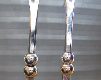 Handmade Sterling Silver hammered long drop earrings with silver and gold beads