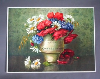 antique french colored etching -engraving - Floral Still Life -