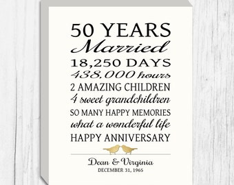 50th Anniversary Gift Canvas Golden Anniversary 50 Years Personalized Print Faux Gold Birds Keepsake Gift  Parents Custom Words