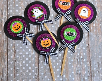 Ghosts, Pumpkins and Spiders OH MY!  Halloween Cupcake Toppers - set of 12
