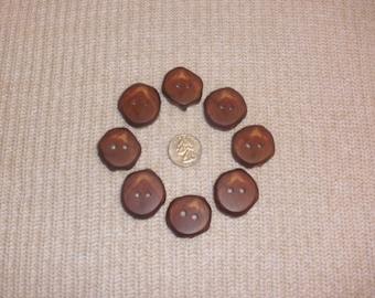 "8 Wood Buttons, Red Cedar Tree Branch Driftwood Buttons 1 1/4"" Rustic for Knitting, Crochet, Craft Supply, Fiber Art Embellishments"