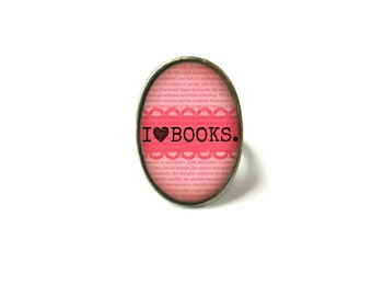 Coral I Love Books Book Ring, Quote Jewelry, Book Page Jewelry, Bookworm Ring, Nerdy Book Jewelry, Book Page Ring, Book Lover Jewelry
