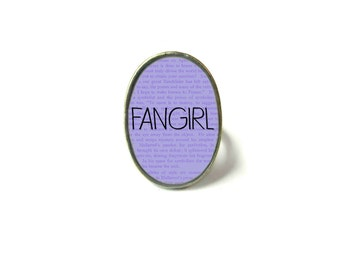 Adjustable Fangirl Book Ring, Quote Jewelry, Book Page Jewelry, Bookworm Ring, Nerdy Book Jewelry, Book Page Ring, Book Lover Jewelry