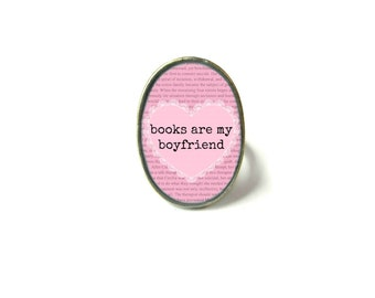 Pink Books are My Boyfriend Book Ring, Quote Jewelry, Book Page Jewelry Bookworm Ring, Nerdy Book Jewelry Book Page Ring, Book Lover Jewelry