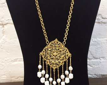 Vintage Signed Vendome Necklace 60s Statement Huge Pendant Tassels White Stones Festival BohoDangle Adjustable Length