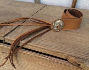 Vintage Leather Concho Fringe Belt