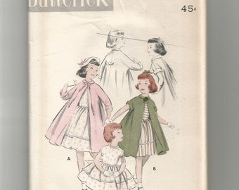 8012 Butterick Sewing Pattern Girls Dress & Coat Ensemble Size 4 Vintage 1950s