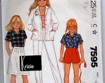 7595 McCalls Sewing Pattern Girls Shirt Skirt & Pants or Shorts Size 6 Vintage 1980s