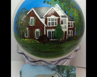 House Portrait Ornament First Home House Warming Custom Painted Christmas Ornament Bulb
