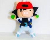 Pokemon Trainer Ash Ketchum Handmade Felt Plush Pig Ornament