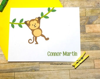 Personalized Monkey Note Cards - Baby Shower Thank You Note Card Set - Kids Monkey Stationery -Gender Neutral Thank You Cards DM138