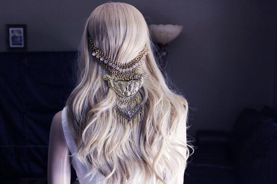 Tribal Hair Boho Hair Piece Gypsy Hair Chain Hair Piece
