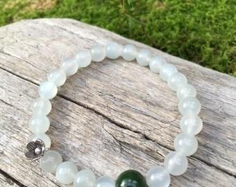 Vintage alaskan jade moonstone mala bracelet by Bicycling Buddha YC24