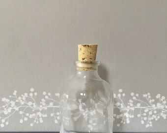 60 Empty Small Glass Bottles with Corks, wedding favours
