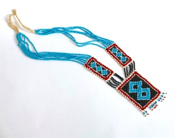 Beaded African necklace /  traditional African jewellery / Mother's Day / gift for her / blue / red