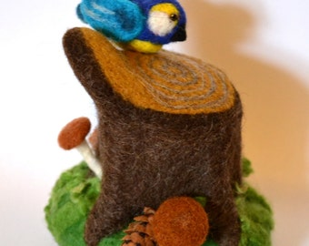 Pincushion,Stump,Nature,Bird,Present,felt,autumn