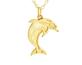 Swimming Dolphin Marine Animal Aquatic Mammal Charm Pendant Necklace #14K Gold Plated over 925 Sterling Silver #Azaggi N0346G
