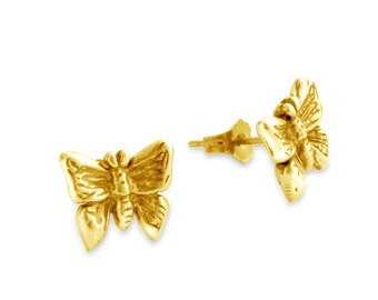 Butterfly Bugs Stud Earrings #14K Gold Plated over 925 Sterling Silver #Azaggi E0394G