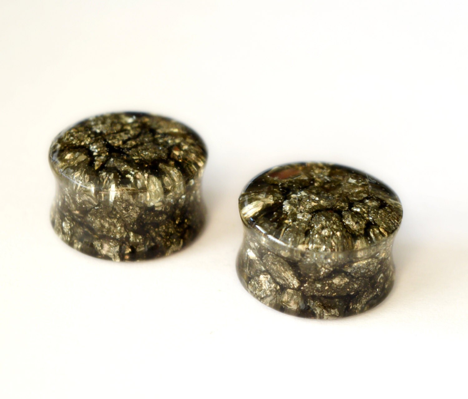 pyrite plugs stone plugs gauge earrings double flare plugs