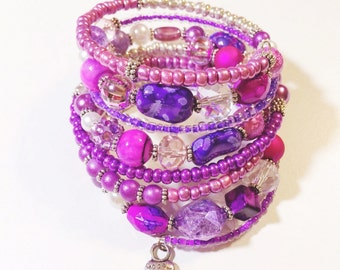 orchid love chunky beaded wrap bracelet