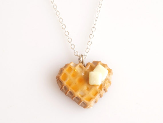 Waffle with Butter and Maple Syrup Necklace, Miniature Desserts, Miniature Food, Polymer Clay Sweets, Kawaii Jewelry, Foodie Gift