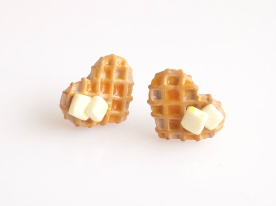 Waffles with Butter and Maple Syrup Stud Earrings, Post Earrings, Mini Food, Polymer Clay Sweets, Miniature Food, Foodie, Kawaii Jewelry