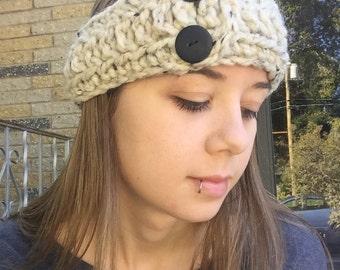 Oatmeal Button Headband