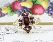 Bohemian Garnet Ring | Vintage Cocktail Ring | 14k Yellow Gold Statement Ring | Birthstone Engagement Ring | Victorian Inspired | Size 7.75