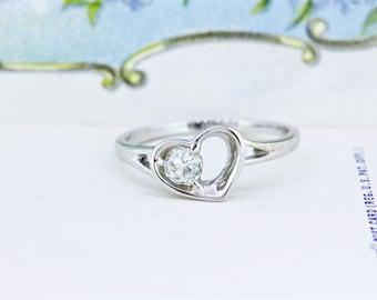 European Cut Diamond Ring   Unique Engagement Ring   Antique Diamond   Heart Ring   14k White Gold Engagement Ring   Custom Ring   Size 8.25