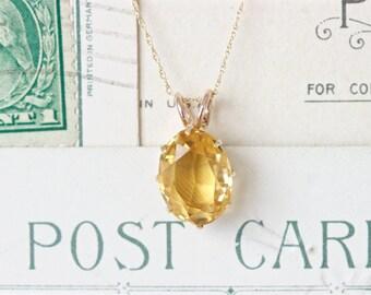 Antique Citrine Necklace   Vintage Solitaire Necklace Pendant   Conversion Jewelry   November Birthstone Jewelry   Citrine Gemstone Pendant