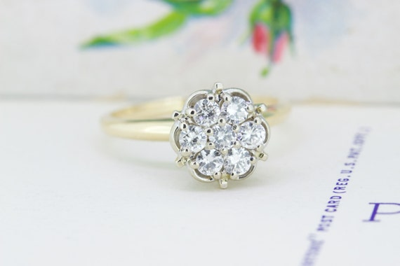 1960s Diamond Halo Engagement Ring by FergusonsFineJewelry
