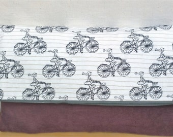 Bicycle Foldover Clutch /  Magnetic Snap / Purple - Upcycled Corduroy
